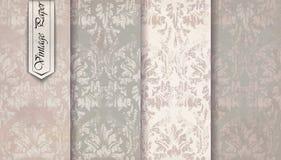 Rocznika adamaszka wzoru ustalony wektor Barokowy ornamentu wystrój Królewski wiktoriański tło Modne kolor tkaniny tekstury Obraz Royalty Free