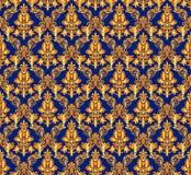 Rocznika adamaszkowy bezszwowy tło Kwiecisty motywu wzór Zdjęcia Stock