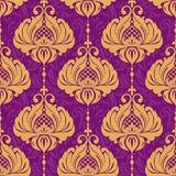 Rocznika adamaszkowy ornamentacyjny bezszwowy wzór Zdjęcia Royalty Free