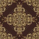 Rocznika Adamaszkowy wektorowy bezszwowy wzór Zmrok - czerwony ornamentacyjny Flor royalty ilustracja