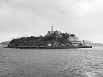 Rocznika Alcatraz Czarny I Biały wyspa Fotografia Royalty Free