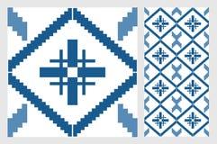 Rocznika antykwarski bezszwowy projekt deseniuje płytki w Wektorowej ilustraci Zdjęcie Stock