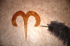 Rocznika Aries znak zodiak Obrazy Stock