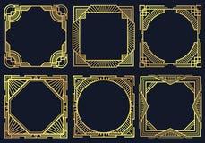 Rocznika art deco projekta elementy, stara klasyk granica obramiają wektorową kolekcję Obraz Royalty Free
