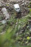 Rocznika autobusu VW Mała metal zabawka w naturze Fotografia Stock