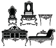 Rocznika Barokowy meblarski ustawiający z luksusowymi ornamentami Obraz Royalty Free