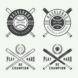 Rocznika baseballa logowie, emblematy, odznaki i projektów elementy, Zdjęcie Royalty Free