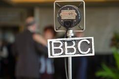 Rocznika bbc grampian retro mikrofon przy retro wydarzeniem Zdjęcia Stock