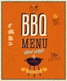 Rocznika BBQ plakat. Zdjęcia Royalty Free