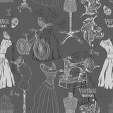 Rocznika Bezszwowy wzór - moda i szyć royalty ilustracja