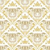 Rocznika bezszwowy wzór wielostrzałowy świniowaty kaganiec w kwiecistym ornamencie z koroną Prezenta opakowanie dla Chińskiego no zdjęcia stock