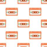 Rocznika bezszwowy wzór z analog muzycznymi kasetami 80s Loopable tło z magnesowymi taśmami dźwiękowa royalty ilustracja
