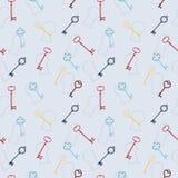 Rocznika bezszwowy wzór z kluczami i keyholes Zdjęcie Stock