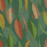 Rocznika bezszwowy wzór z liśćmi Zdjęcie Stock