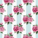 Rocznika bezszwowy wzór z różami ilustracji