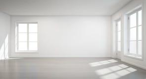 Rocznika biały pokój z drzwi i okno w nowym domu Fotografia Stock