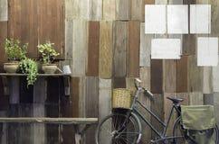 Rocznika bicykl i mały drzewo na starym drewnie izolujemy tło obraz royalty free