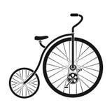 Rocznika bicykl Pierwszy bicykl Ogromny i mały koło Różnego bicyklu pojedyncza ikona w czerń stylu wektoru symbolu ilustracja wektor