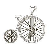 Rocznika bicykl Pierwszy bicykl Ogromny i mały koło Różnego bicyklu pojedyncza ikona w konturu stylu wektoru symbolu ilustracji