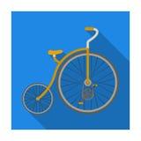 Rocznika bicykl Pierwszy bicykl Ogromny i mały koło Różnego bicyklu pojedyncza ikona w mieszkanie stylu symbolu wektorowym zapasi ilustracja wektor