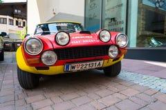Rocznika bieżnego samochodu Fiat Abarth 124 sporta Włoski wiec lata siedemdziesiąte weterana oldsmobile narządzanie dla Saalbach  zdjęcia royalty free