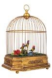Rocznika birdcage z sfałszowanymi małymi ptakami odizolowywającymi na bielu Obrazy Stock