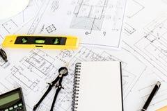 Rocznika biznesowy biurko inżyniera kontrahent Obraz Stock