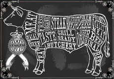 Rocznika Blackboard cięcie wołowina Zdjęcia Stock