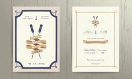 Rocznika bliźniaka nautycznych paddles zaproszenia karty tasiemkowy ślubny szablon royalty ilustracja