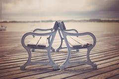 Rocznika boardwalk ławki Obraz Royalty Free