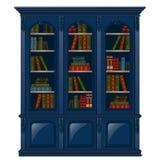 Rocznika bookcase błękit wypełniający z książkami Biblioteczny meble odizolowywający na białym tle również zwrócić corel ilustrac ilustracja wektor