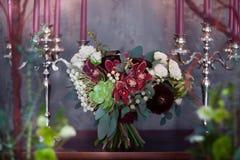 Rocznika bridal bukiet od sukulentów Fotografia Stock
