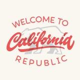Rocznika California republiki kaligraficzna ręcznie pisany koszulka app royalty ilustracja