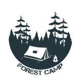 Rocznika camping i plenerowy przygoda logo royalty ilustracja
