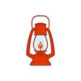 Rocznika campingowy lampion odizolowywający na białym tle Retro benzynowa lampa z rozjarzonym pożarniczym wick Obrazy Stock