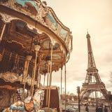 Rocznika carousel w Paryż zdjęcie royalty free