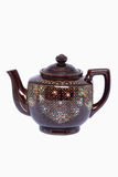 Rocznika ceramiczny teapot odizolowywający na białym tle Zdjęcie Stock