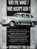 Rocznika Chevrolet sprzedaży samochodowy ogłoszenie fotografia stock