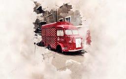 Rocznika Citroen jedzenia ciężarówka ilustracji