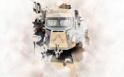 Rocznika Citroen jedzenia ciężarówka royalty ilustracja