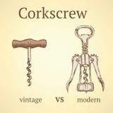 Rocznika corkscrew versus nowożytny Obraz Royalty Free