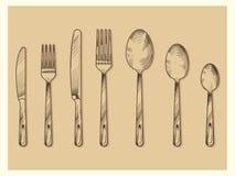 Rocznika cutlery ustalony wektorowy projekt Wręcza patroszonego nóż, rozwidlenie, łyżka w nakreślenia rytownictwa stylu ilustracja wektor