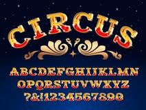 Rocznika cyrka chrzcielnica Wiktoriański karnawałowy nagłówka signage Typeface steampunk abecadła znaka wektoru ilustracja royalty ilustracja