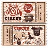 Rocznika Cyrkowy przedstawienie Reklamuje Horyzontalnych bilety ilustracji