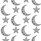 Rocznika czarny i biały wzór dla Eid Mosul festiwalu, Półksiężyc księżyc i gwiazdy, dekorował na białym tle dla muzułmańskiego co Zdjęcia Royalty Free