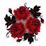 Rocznika czerni i czerwieni ukraińskie róże w okręgu karciany i druk proposicion nowożytny interpritation stary tradycyjny royalty ilustracja