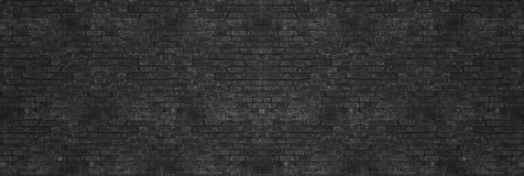 Rocznika czerni obmycia ściana z cegieł tekstura dla projekta Panoramiczny tło dla twój wizerunku lub teksta zdjęcia royalty free