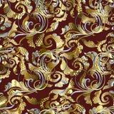 Rocznika 3d grunge Barokowy bezszwowy wzór Wektorowy ornamentacyjny ponowny Fotografia Royalty Free