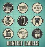 Rocznika dentysty ikony i etykietki Obrazy Royalty Free