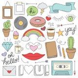 Rocznika Doodle przedmioty Zdjęcia Royalty Free